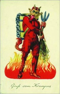 At least this Krampus is red for Christmas