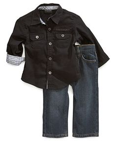 best cheap ac470 30e72 Calvin Klein Baby Set, Baby Boys 2-Piece Shirt and Pants - Kids Baby