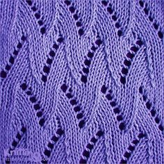 Flame Chevron stitch pattern - though this is a 7 stitch 24 row repeat the pattern looks easy to memorize Knitting Squares, Lace Knitting Stitches, Crochet Stitches Patterns, Sweater Knitting Patterns, Knitting Charts, Lace Patterns, Stitch Patterns, Drops Paris, Herringbone Stitch