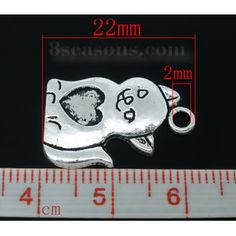 Wholesale 40 PCs Antique Silver Cat/Heart Charms Pendants 22x14mm from China Supplier – 8seasons.com