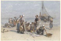 Fishwives on the Beach at Scheveningen, Bernardus Johannes Blommers, c. 1880 - c. 1885
