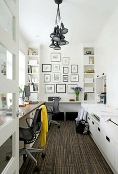 Architecture Dark Wood Flooring With Cool Pendant Lamp Feat Long Computer Desk For Two And Framed Wall Arts In Fabulous Small Home Office Idea Comfortable Small Home Office with Smart Room Arrangement