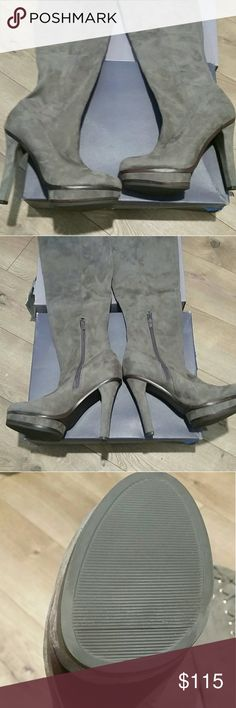 Jlo sz 8.5 Lisette over the knee platform boot Eye catching grey, over the knee stlye boot. Pull on with ankle zipper for secure fit. Laced detail at tops, super soft suede feel. Brand new, with box. Only tried on never worn outside store.  Offers welcome Jennifer Lopez Shoes Over the Knee Boots