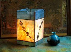 Stained Glass Lamp in Milky Gold and Steel Blue Mottle | FleetingStillness - Glass on ArtFire