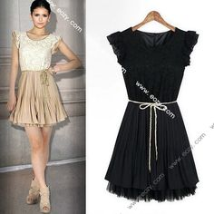 Fashion Women's Sleeveless Lace Stitching Chiffon Pleated Skirt Dress