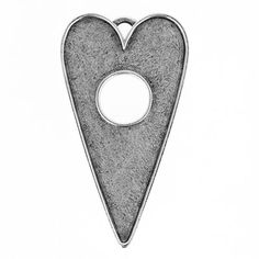 34x30mm Nunn Design Antique Sterling Silver Plated Pewter Large Heart Toggle Pendant