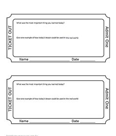 photograph regarding Printable Exit Tickets titled 33 Least difficult Exit Ticket Plans photographs inside of 2019 College or university clroom