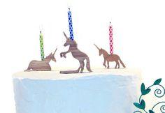 Birthday Candle Holder Rearing Unicorn Celebrate by askamarmot