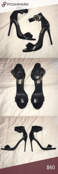 Steve Madden Black Ankle Strap Sandals Steve Madden Ankle Strap Sandals. Gold hardware on adjustable strap. Heel is about 4-5 inches. Only worn 3 times.. in great condition!!! Steve Madden Shoes Heels
