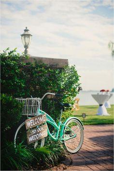 2014 wedding signage with green bicycle, wooden wedding reception sign #Valentines day ideas #rustic wedding signs www.dreamyweddingideas.com