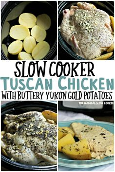 Tuscan Chicken with Buttery Yukon Gold Potatoes Crock Pot Slow Cooker, Slow Cooker Recipes, Crockpot Recipes, Chicken Recipes, Cooking Recipes, Freezer Recipes, Freezer Cooking, Slow Cooking, Freezer Meals