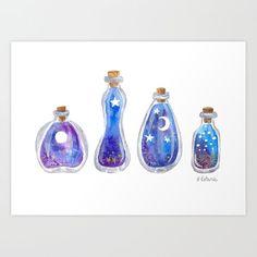 Bottle Drawing, Bottle Painting, Watercolor Illustration, Watercolor Paintings, Watercolour, Magic Bottles, Magic Art, Oeuvre D'art, Cute Drawings