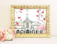 Bountiful Temple Watercolor by SweetnSandy on Etsy