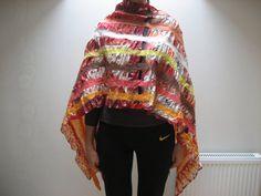 Nuno felted shawl wrap scarf orange brown red yellow by feltinga, $34.90