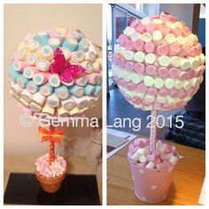 Mallow trees ~ one butterfly and one vintage themed