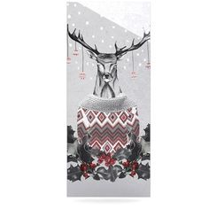 """East Urban Home Holiday 'Christmas Deer Snow' Graphic Art Print on Metal Size: 20"""" H x 16"""" W x 1"""" D"""