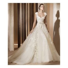 2012 Cap Sleeves Lace Satin Organza Wedding Gown