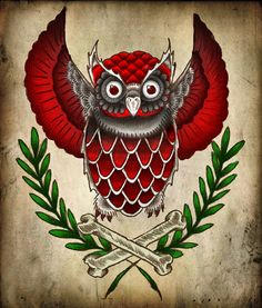 Owl and crossbones tattoo flash art ... by ~virrewe