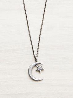 Moon & Star Diamond Necklace