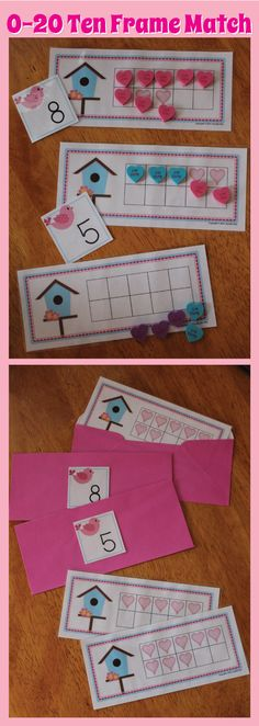Valentine math activities for preschool, pre-k, and busy bags.