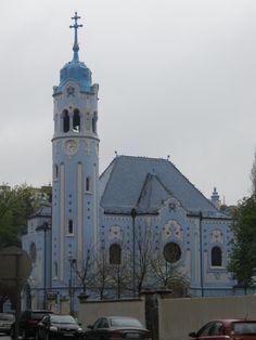 Blue Orthodox church in Bratislava, Slovakia