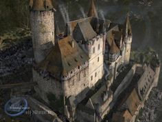 Castle Dalberg at nestor the horrible Fantasy Castle, Fantasy Rpg, Medieval Fantasy, Medieval Town, Medieval Castle, 3d Reconstruction, Castle Parts, Round Tower, Map Background