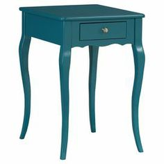 "Add a pop of color to your living room or master suite with this 1-drawer wood end table, showcasing a cyan finish, gently scalloped apron, and cabriole legs.   Product: Accent tableConstruction Material: WoodColor: CyanFeatures:  One drawerCabriole legsDimensions: 27.75"" H x 14.75"" W x 16.75"" D"