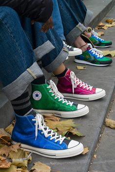 """Anderson x Converse """"Glitter Gutter"""" Chuck Taylor All Star 70 High Moda Sneakers, Sneakers Mode, Sneakers Fashion, High Top Sneakers, Casual Sneakers, Sock Shoes, Cute Shoes, Me Too Shoes, Nike Shox"""