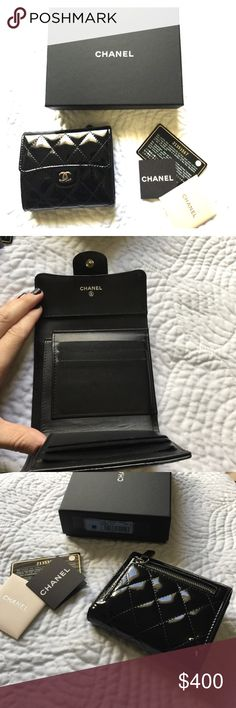 Chanel quilted patent bi gold wallet AUTHENTIC! Gently used Chanel patent wallet. Completely authentic! I purchased from Chanel boutique in Neimans! It comes with box, with velvet storage sack and card of authenticity. CHANEL Bags Wallets