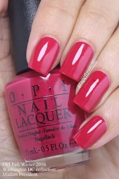 Madam President is a bright pink-leaning red cream nail polish / lacquer from the OPI Washington DC Collection for Fall/Winter 2016 Nail Design, Nail Art, Nail Salon, Irvine, Newport Beach Fancy Nails, Trendy Nails, Cute Nails, Opi Nails, Manicure And Pedicure, Pedicures, Teal Nails, Pastel Nails, Bling Nails