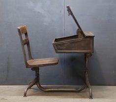vintage desk. you could never scoot the chair in closer...