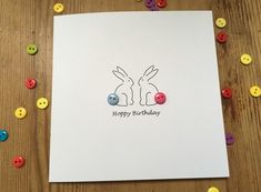 Hoppy Birthday - Birthday Card - Bunnies with button tails Birthday Card