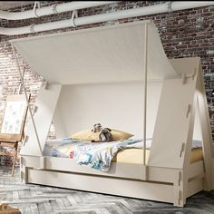 This awesome Children's Tent Cabin Bed is the perfect centerpiece in any kids bedroom. The cloth side wall opens up as a canopy which is held up by 2 poles. It can easily be taken down and the cloth rolled up and fastened with strips.