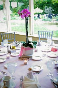Table setting - orchid centerpiece