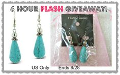 6 HOUR FLASH! HURRY! WIN a Pair of Stylish Turquoise Earrings {6-Hour FLASH Giveaway!} http://www.styledecordeals.com/2013/08/win-pair-of-stylish-turquoise-earrings.html
