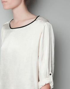 BLUSA VIVO CONTRASTE - Camisas - Mujer - ZARA México