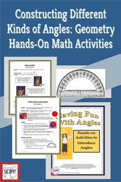 This eight page geometry math handout explains how to construct different kinds of angles (acute, obtuse, right, straight) using items such as coffee filters, plastic plates, and your fingers. Each item or manipulative is inexpensive, easy to make, and simple for students to use. All of the activities are hands-on and work well for kinesthetic, logical, spatial, and/or visual learners. Correct geometric language is encouraged in the activities. Plane Geometry, Solid Geometry, Hands On Activities, Math Activities, Maths Puzzles, Plastic Plates, Coffee Filters, Math Lessons, Angles