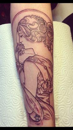 Primrose by Alphonse Mucha tattooes by Toni-Lou