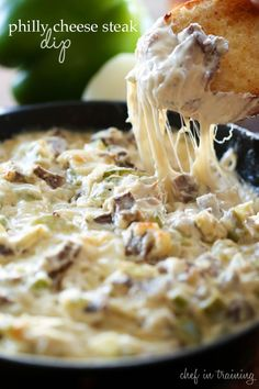 Dip and appetizer season is among us and I couldn't be more happy about that! This Philly Cheese Steak Dip is phenomenal and truly tastes JUST like you … Best Dip Recipes, Favorite Recipes, Easy Recipes, Milk Recipes, Party Dip Recipes, Cheese Dip Recipes, Tailgating Recipes, Popular Recipes, Holiday Recipes