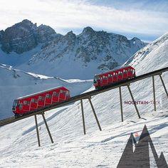 Standseilbahn mit Geschichte: Die Olympiabahn in der Axamer Lizum. ©Axamer Lizum Aufschliessungs AG | Mehr über Standseilbahnen: http://www.mountain-talk.com/seilbahn/seilbahn-mit-system-ii/ #mountaintalk #photooftheday #potd #axamerlizum #standseilbahn