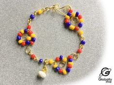 Beaded Necklace, Charmed, Bracelets, Etsy, Jewelry, Products, Gold Wire, Venezuela Flag, Bead Necklaces