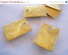 25% OFF SALE Brushed Gold rectangle charm 10mm x by rockingems  96p & £5 pp & p