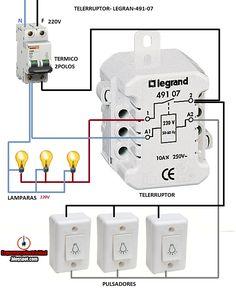 Electrical diagrams: TELERRUPTOR LEGRAN 491-07 Basic Electrical Wiring, Electrical Circuit Diagram, Electrical Projects, Electrical Installation, Electronics Basics, Hobby Electronics, Cool Electronics, Electronics Projects, Mechatronics Engineering