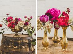 styled shoot // florals by Victory Blooms // gold // magenta // violet // plum // fall wedding flowers