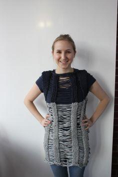 Yasmin  Kleid aus Jerseystreifen, Fallmaschen