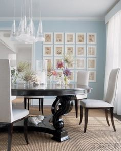 wall colors, dining rooms, chair, elle decor, dine room, blue walls, robin egg blue, gallery walls, picture frames