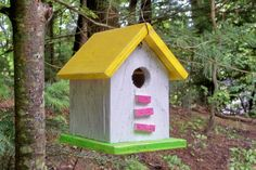 Primitive Birdhouse Yellow White Pink Neon Green Songbirds Yard Garden Shabby. $14.00, via Etsy.