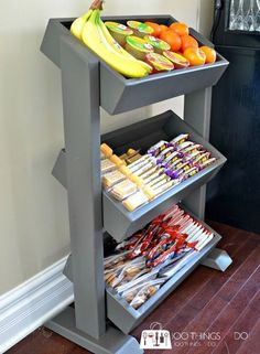 DIY Snack Station / DIY Produce Stand / DIY Display Stand Definitely like this idea.thinking I might do this for the boys eventually -- DIY Snack Station / DIY Produce Stand / DIY Display Stand Snack Station, Homework Station, Snack Bar, Produce Stand, Diy Snacks, Healthy Kid Snacks, Healthy Snack Drawer, Healthy Snacks For Kids On The Go, Healthy Classroom Snacks