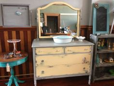 Vintage dresser painted in Maison Blanche's Miel and Hurricane. Heavily distressed. www.facebook.com/refurbishedwithflair