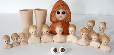 Nice Lot Of Vintage Miniature Porcelain Bisque Doll Heads And Parts #Unbranded